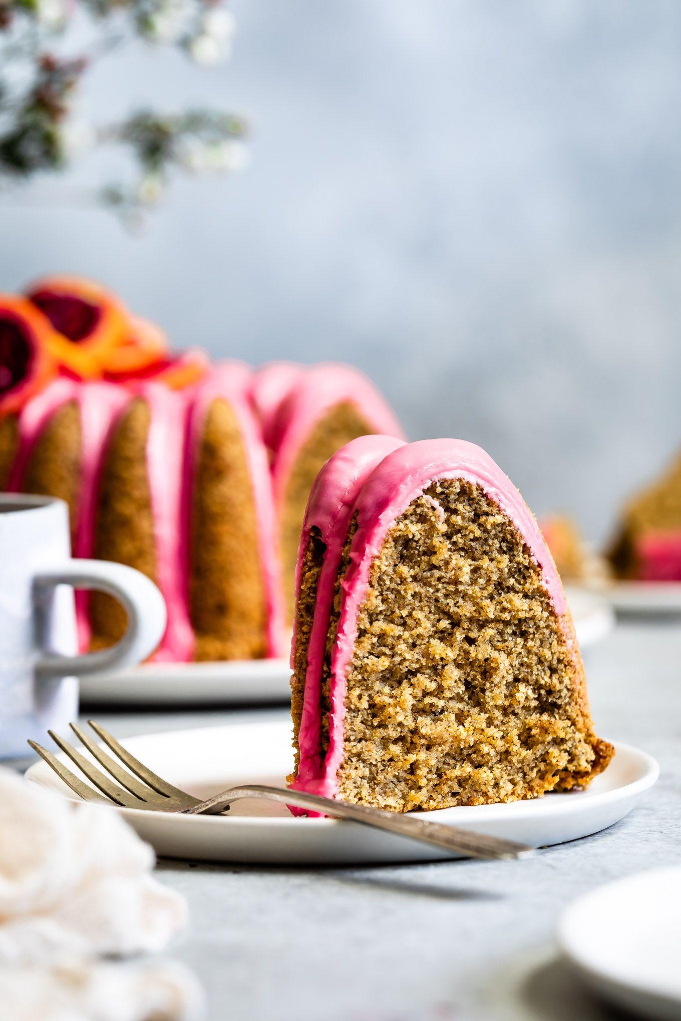 Earl grey glutenfree bundt cake with blood orange icing