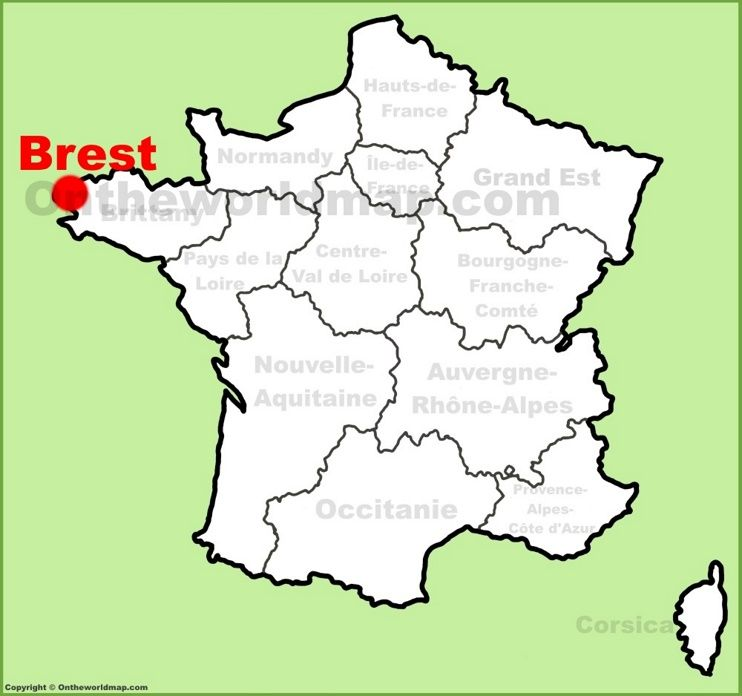 Brest location on the France map Maps Pinterest France map
