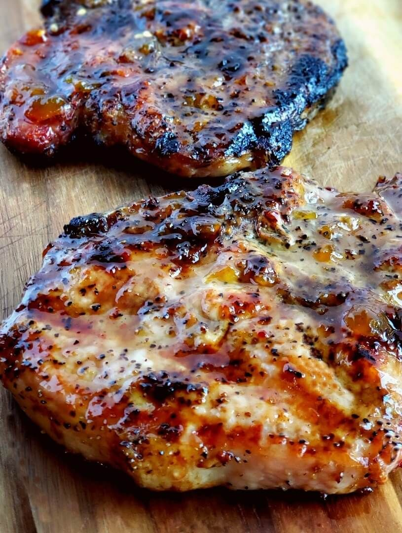 Juicy Grilled Pork Chops with Spicy Peach Glaze  Save Print Prep time 40 mins Cook time 30 mins Total time 1 hour 10 mins  Grilling a quick and easy meal has never been so easy. These tender and Juicy Grilled Pork Chops with Spicy Peach Glaze come together quickly for a dinner your … #grilledporkchops