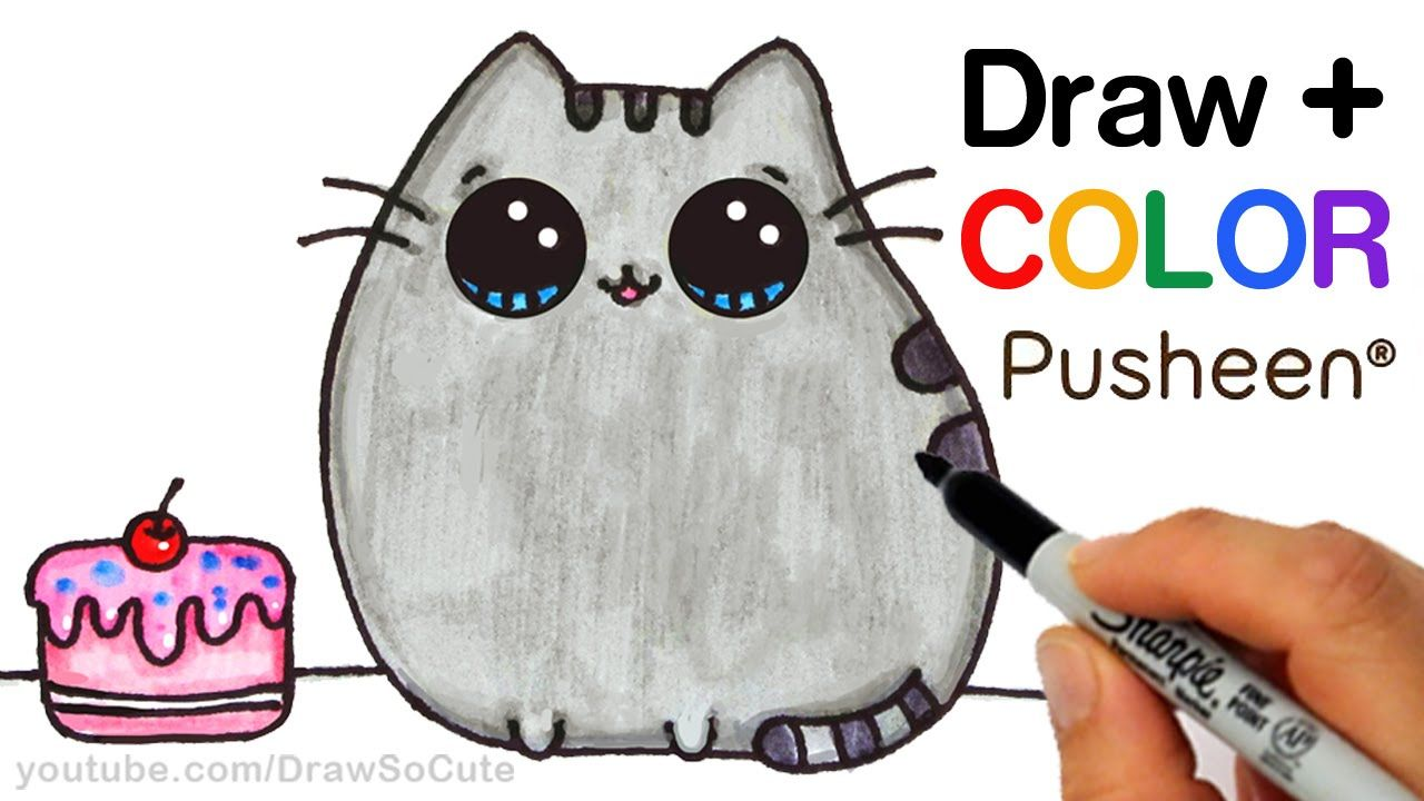 How To Draw Color Pusheen Cat Step By Step Easy Cute Cartoon Cat