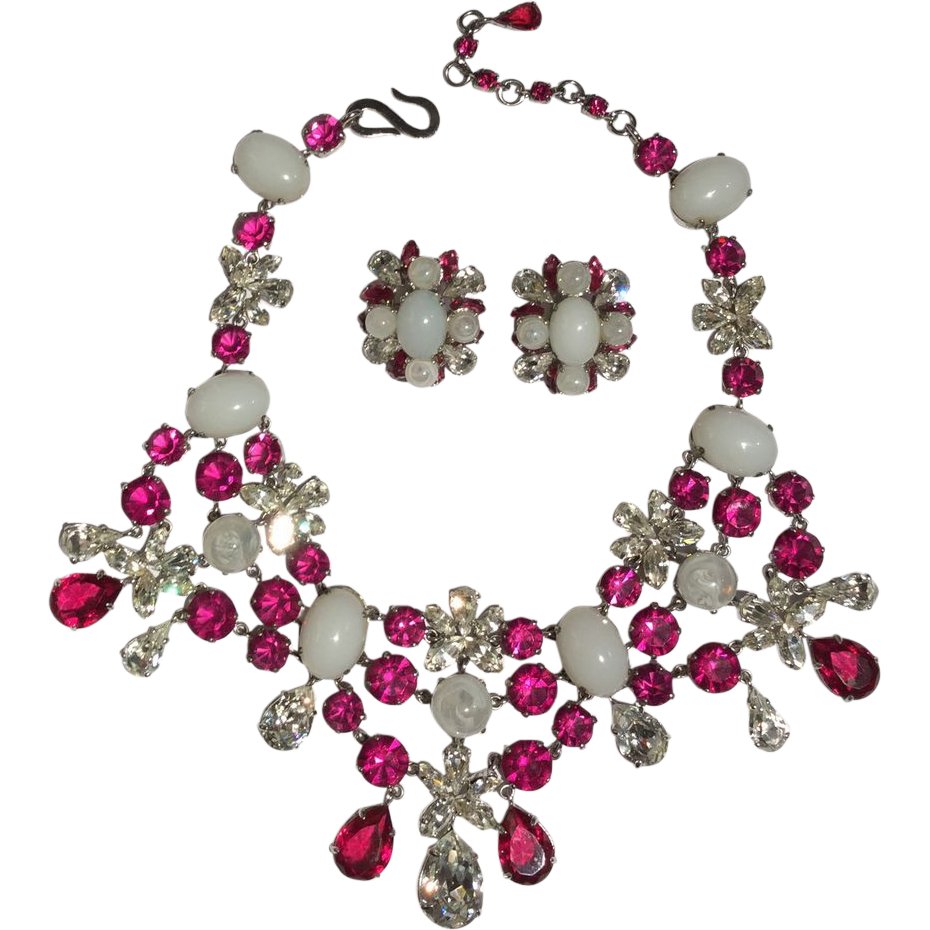 BREATHTAKING 1959 Christian Dior Choker Necklace and ClipOn Earring