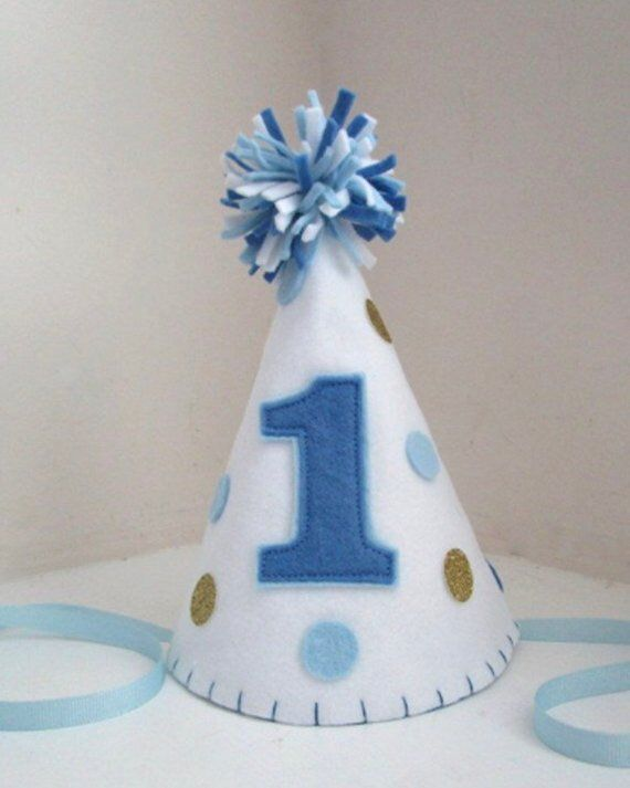 6707a3a9e Felt Party Hat, Polka Dot Party Hat, First Birthday Hat, Smash Cake ...