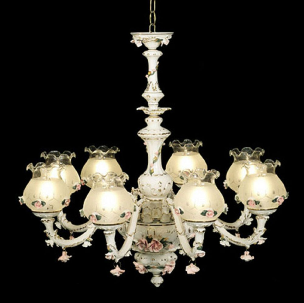 Capodimonte made in italy chandelier 8 lights 8 globes white capodimonte italian porcelain chandelier 8 lights and 8 globes 2 finish choice ceilingfixtures arubaitofo Choice Image