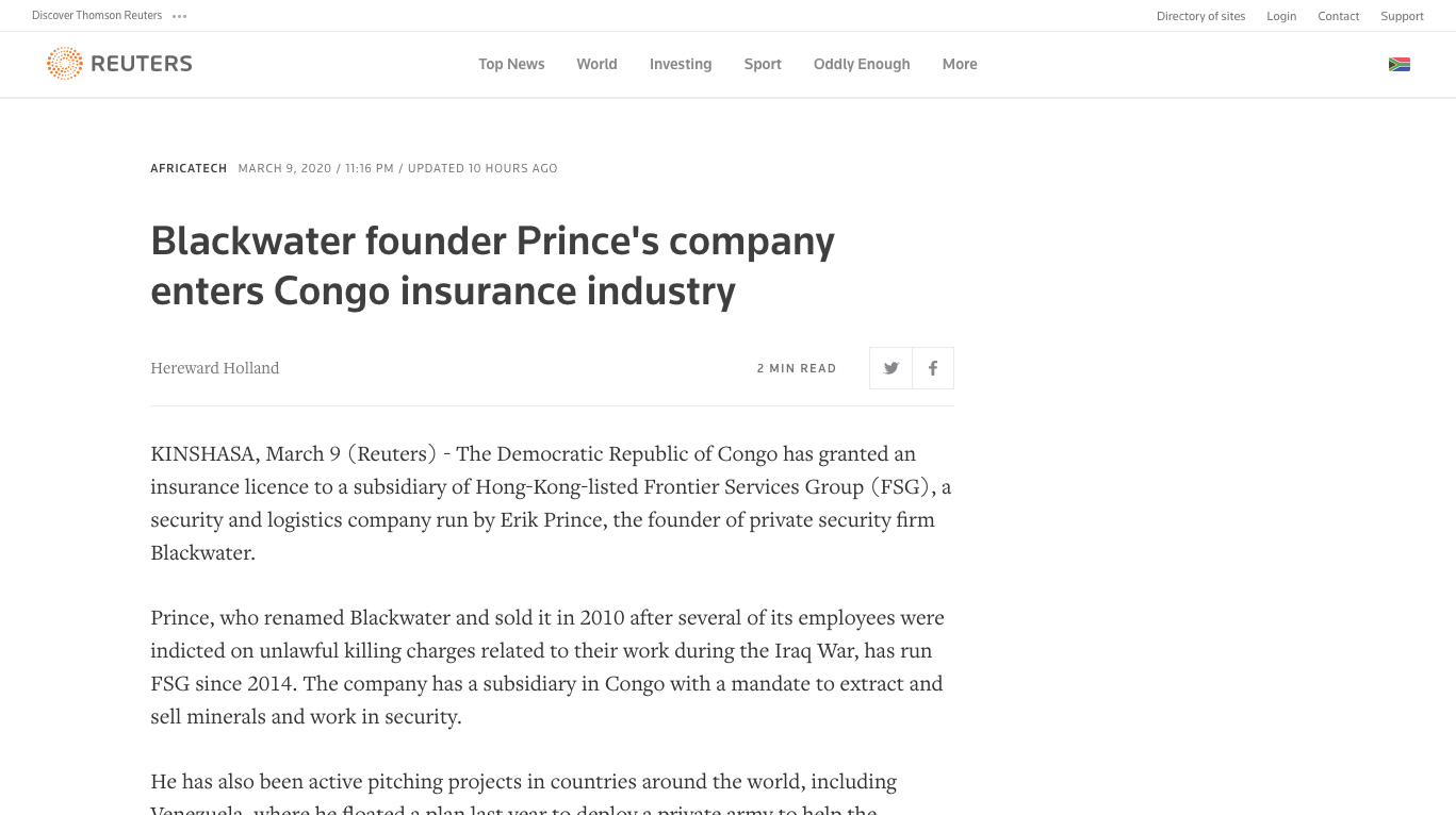 Blackwater founder Prince's company enters Congo insurance