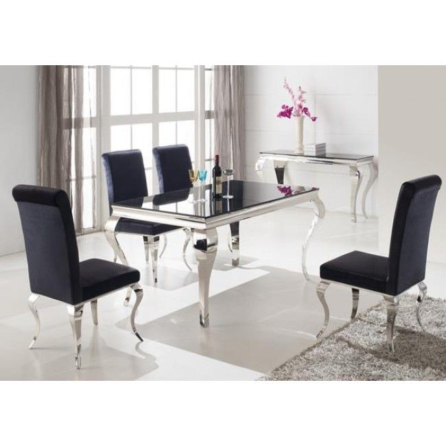 Louis 160cm Black And Chrome Dining Table Only Black Glass