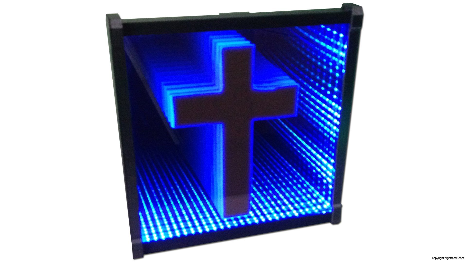 Infinity mirror cross led blue 9 x 9 inch for
