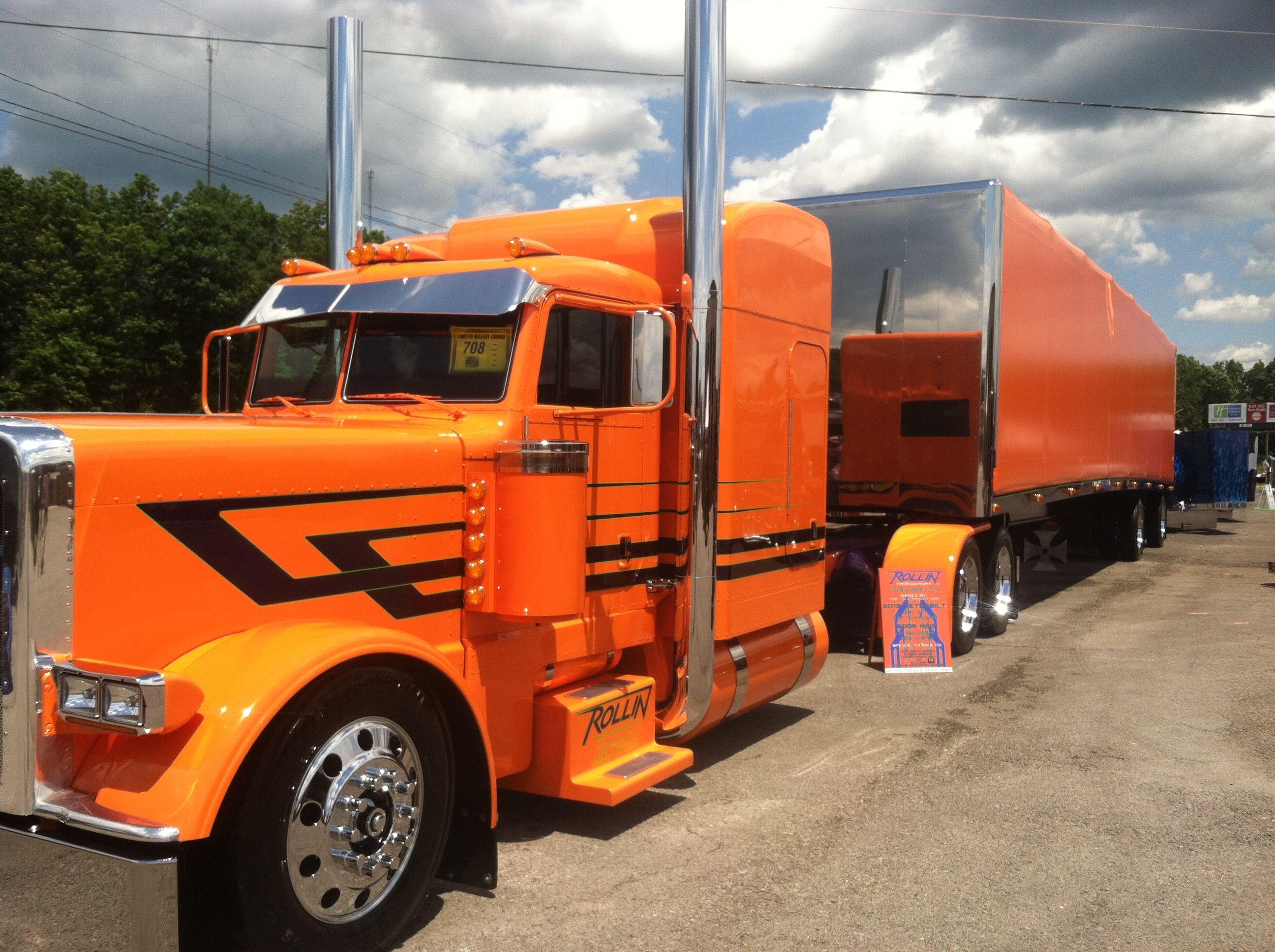 Trucks Custom Big Rig Orange : Peterbuilt cool orange trucks pinterest rigs
