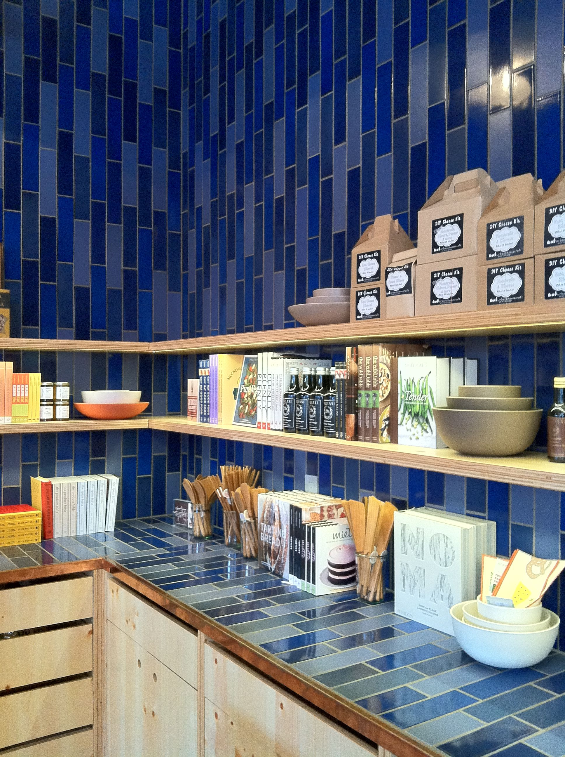 Floating Shelves and Vertical Tile Backsplash at Heath Ceramics ...
