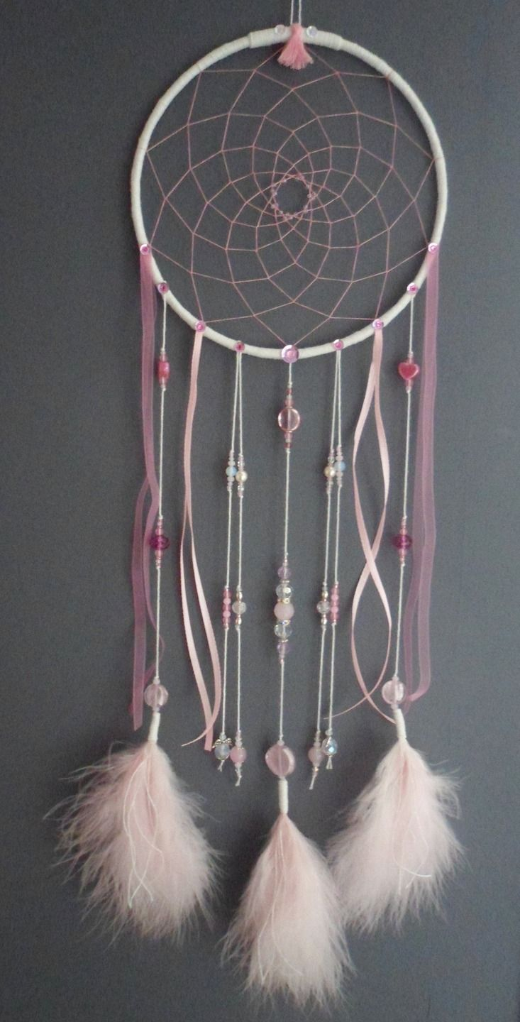 attrape r ves rose poudr dreamcatcher plumes perles et. Black Bedroom Furniture Sets. Home Design Ideas