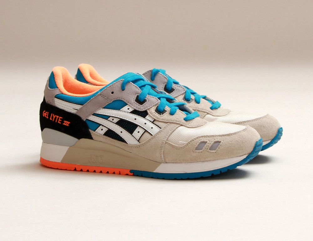 Asics Gel-Lyte III Men White/Off White/Bright Orange/Blue Shoes