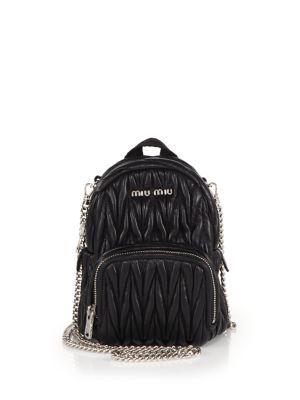 1d38a65f65a2 MIU MIU Mini Matelasse Leather Crossbody Backpack.  miumiu  bags  leather   backpacks