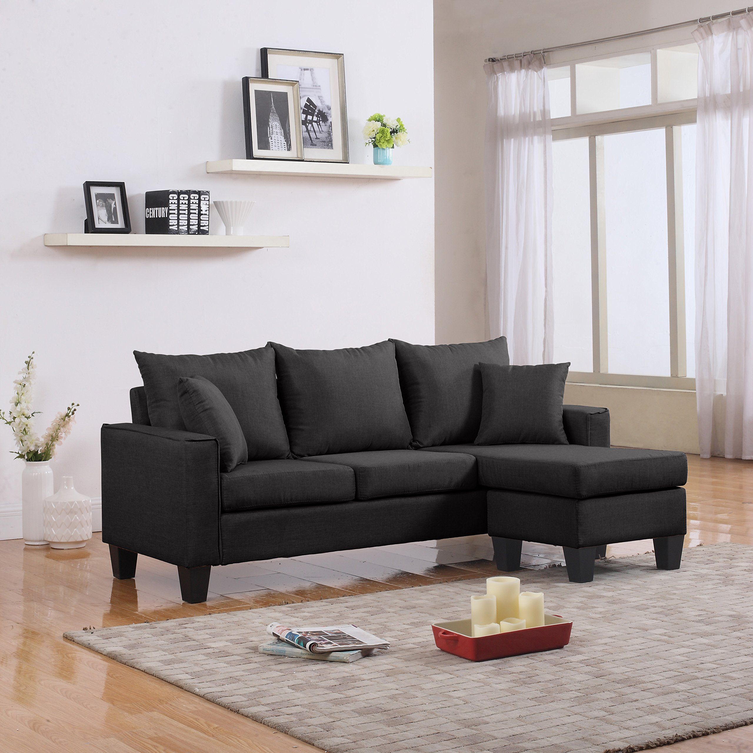 Modern Linen Fabric Small Space Sectional Sofa With Reversible Chaise Dark Grey Check This Aweso Small Sectional Sofa Fabric Sectional Sofas Small Room Sofa