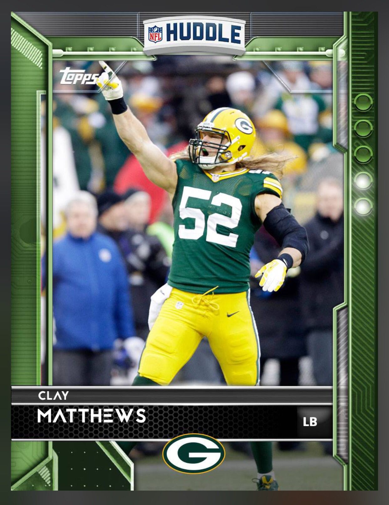 Clay Matthews Green Bay Packers Green Parallel Card 2016 Topps Huddle Football Cards Clay Matthews Sports Cards