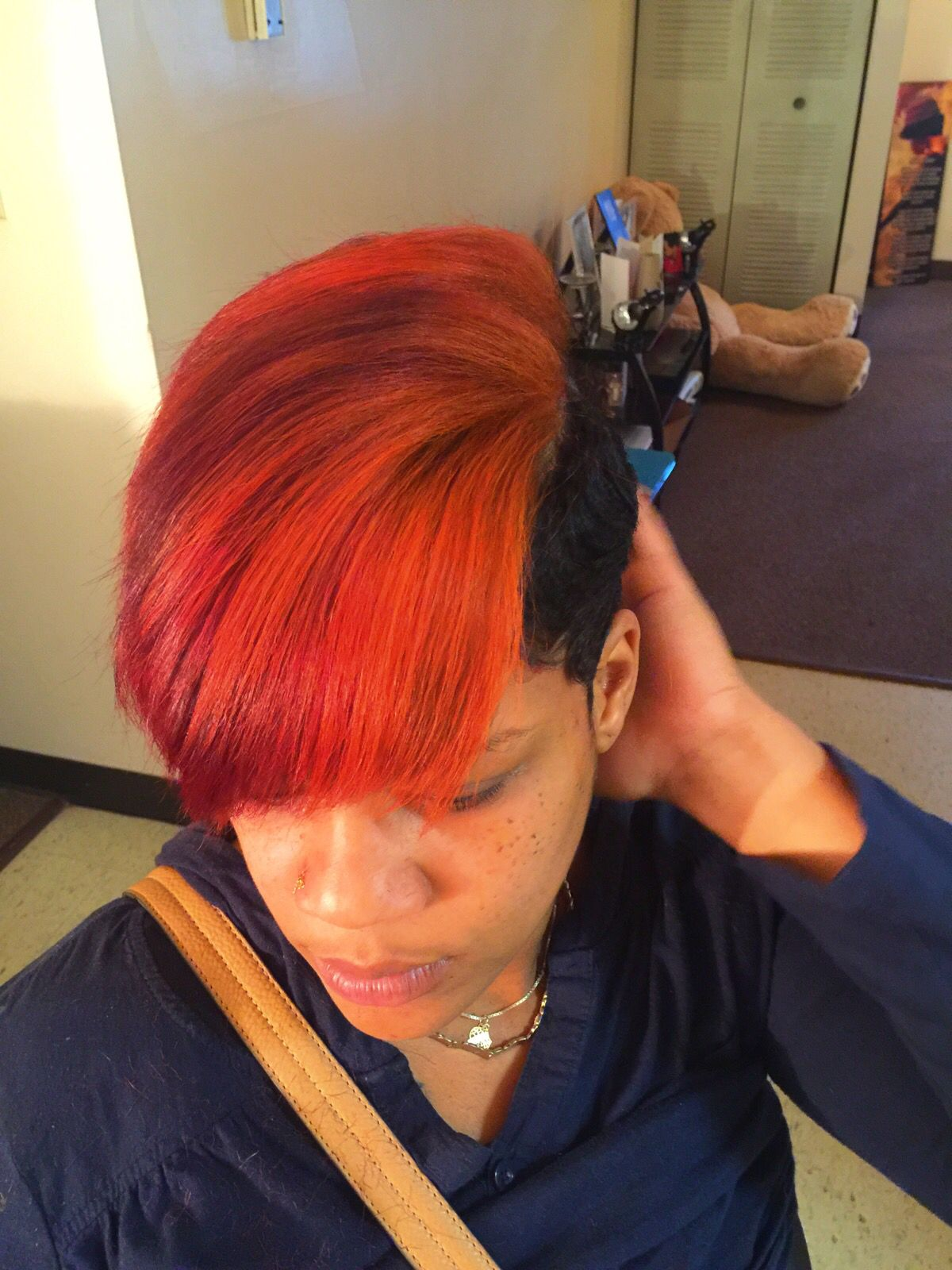 Block color Red and orange hair Instagram