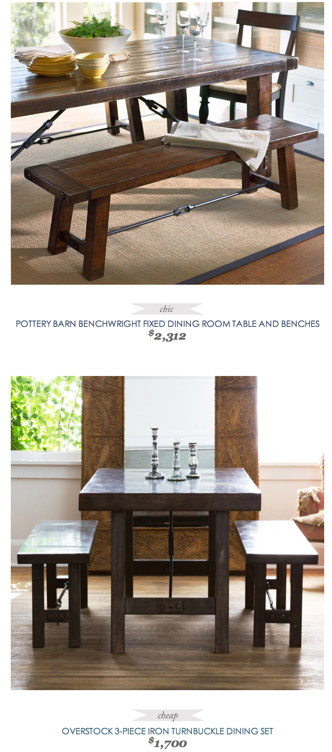 Pottery Barn Benchwright Fixed Dining Room Table And Bench Copycatchic Dining Set With Bench Dining Interior Design
