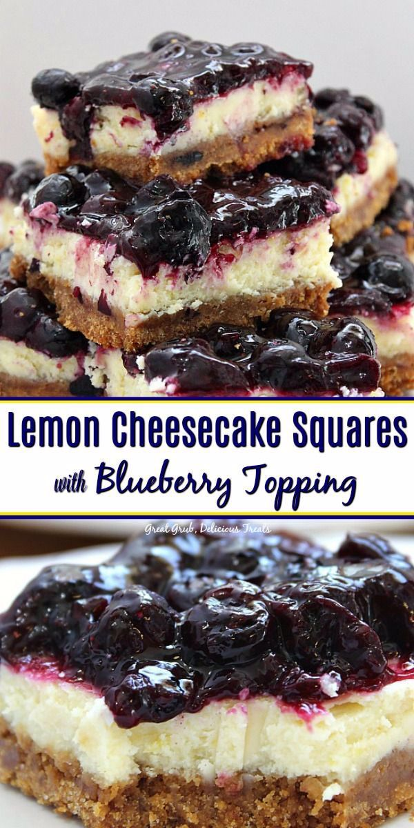 Lemon Cheesecake Squares with Blueberry Topping has a graham cracker crust, topped with lemon chees
