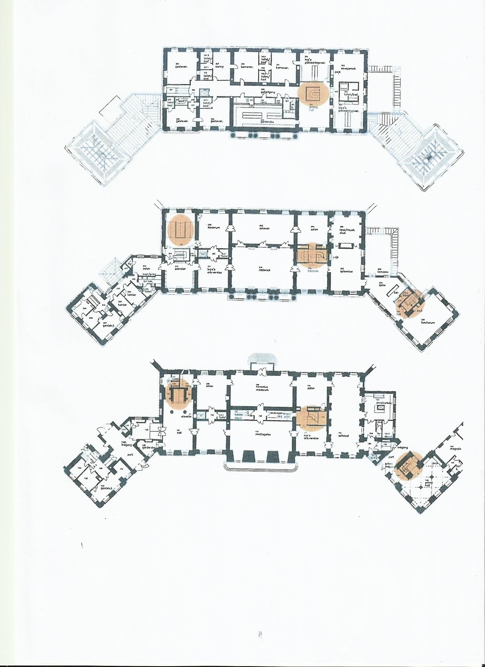 Floorplan of the three main levels of frederik the viii 39 s for Palace house plans