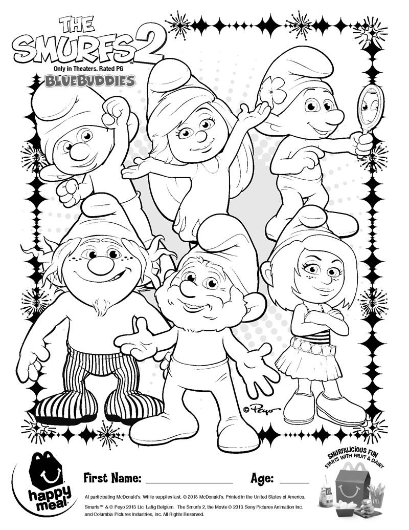 Colouring in pages smurfs - The Smurfs 2 Coloring Sheet