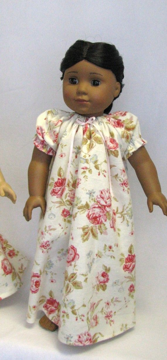 Flannel nightgown, old fashioned rose pattern for 18 inch doll