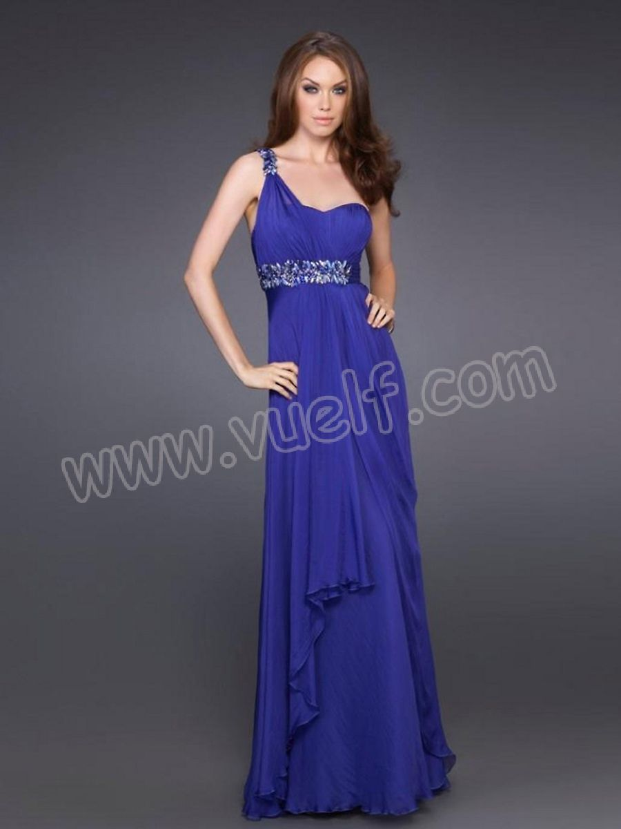 Royal Blue Chiffon One-Shoulder Sweetheart Neckline Sleeveless Floor ...