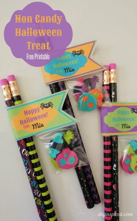 Classroom Birthday Ideas Non Food ~ Non candy halloween treats with printable