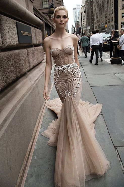 Strapless mermaid dress in a beautiful nude color. See photos of ...