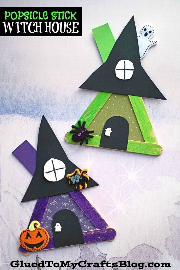 Popsicle Stick Witch House – Halloween Kid Craft Idea #halloween