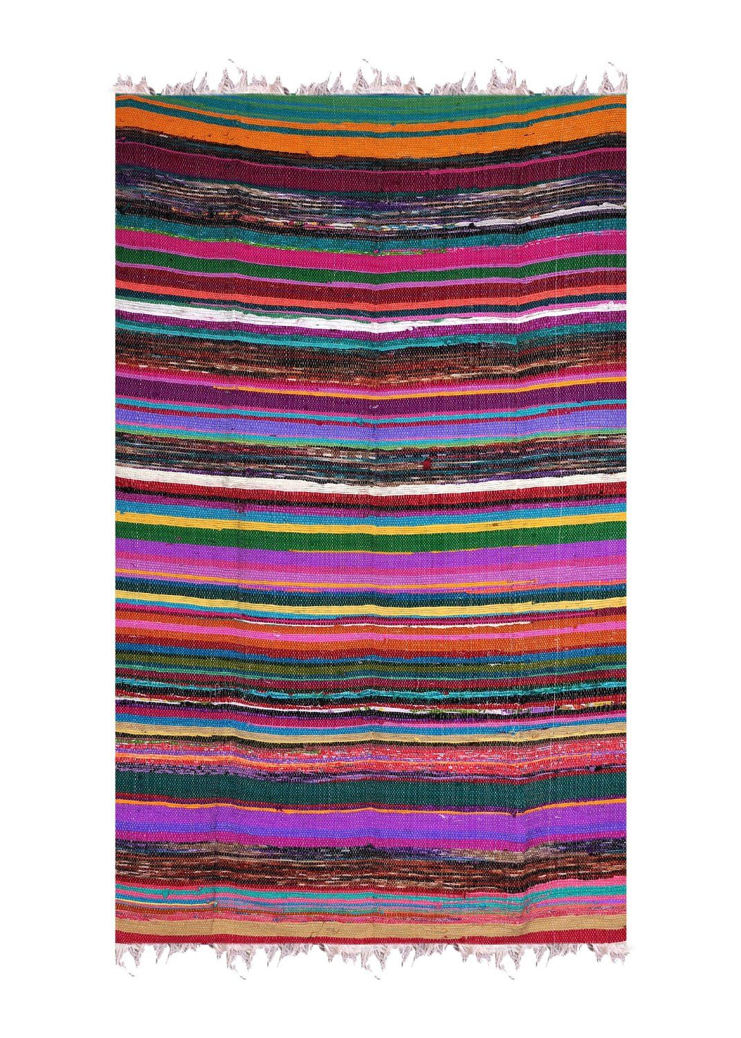 Rawyal Hand Woven Reversible Rug Rag Knotted Striped Multicolored Cotton Recycled Boho Hippy Shabby