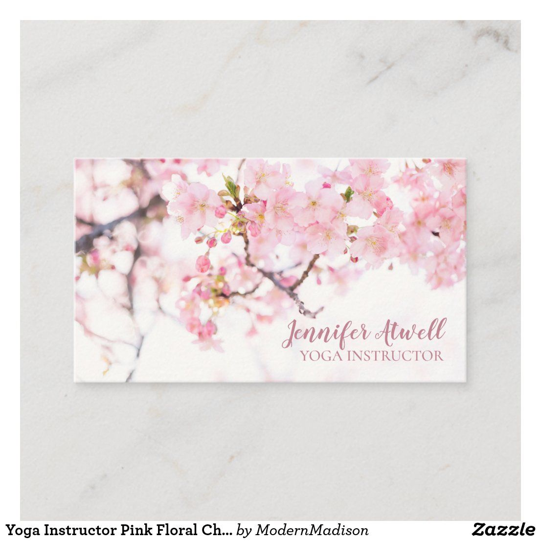 Yoga Instructor Pink Floral Cherry Blossom Trees Business Card Zazzle Com In 2021 Cherry Blossom Tree Blossom Trees Floral Business Cards