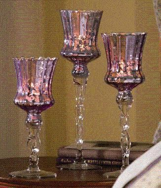 Purple Mercury Gl Stemmed Candle Holders