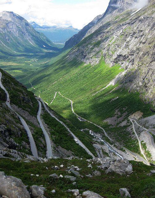 Trollstigen mountain road in in Møre og Romsdal ...