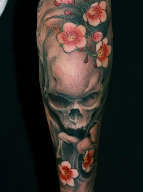Generic Tattoo For Men Or Women Small: Generic Skull And Cherry Blossoms, But Uniquely Jeff Gogue