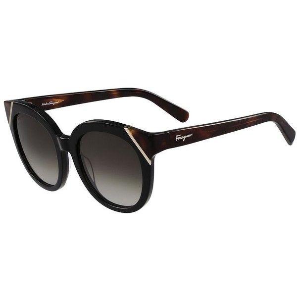 88f9c718162 Salvatore Ferragamo 53mm Tortoise-Shell Round Wayfarer Sunglasse ( 326) ❤  liked on Polyvore