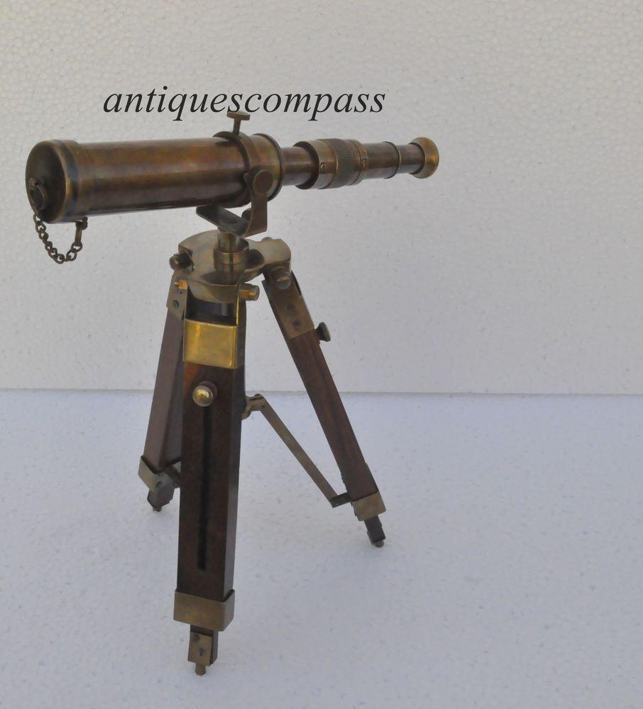 Kelvin Hughes Nautical Antique Brass Telescope Double Barrel With Tripod Stand