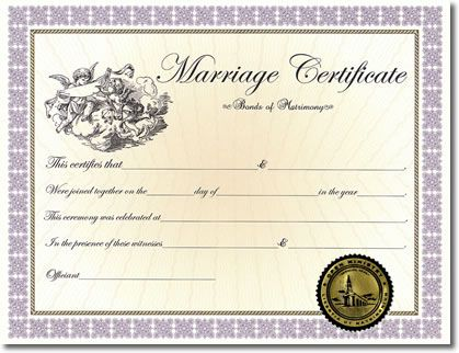 Classic Marriage Certificate  Ceremony    Marriage