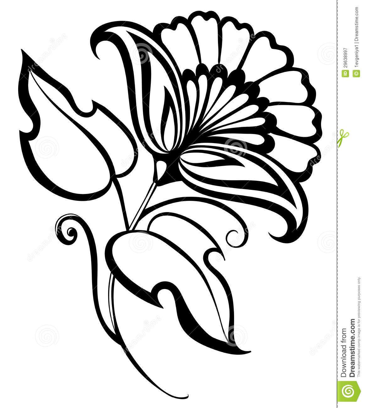 Beautiful Flower Line Drawing : Beautiful black white flower hand drawing floral design