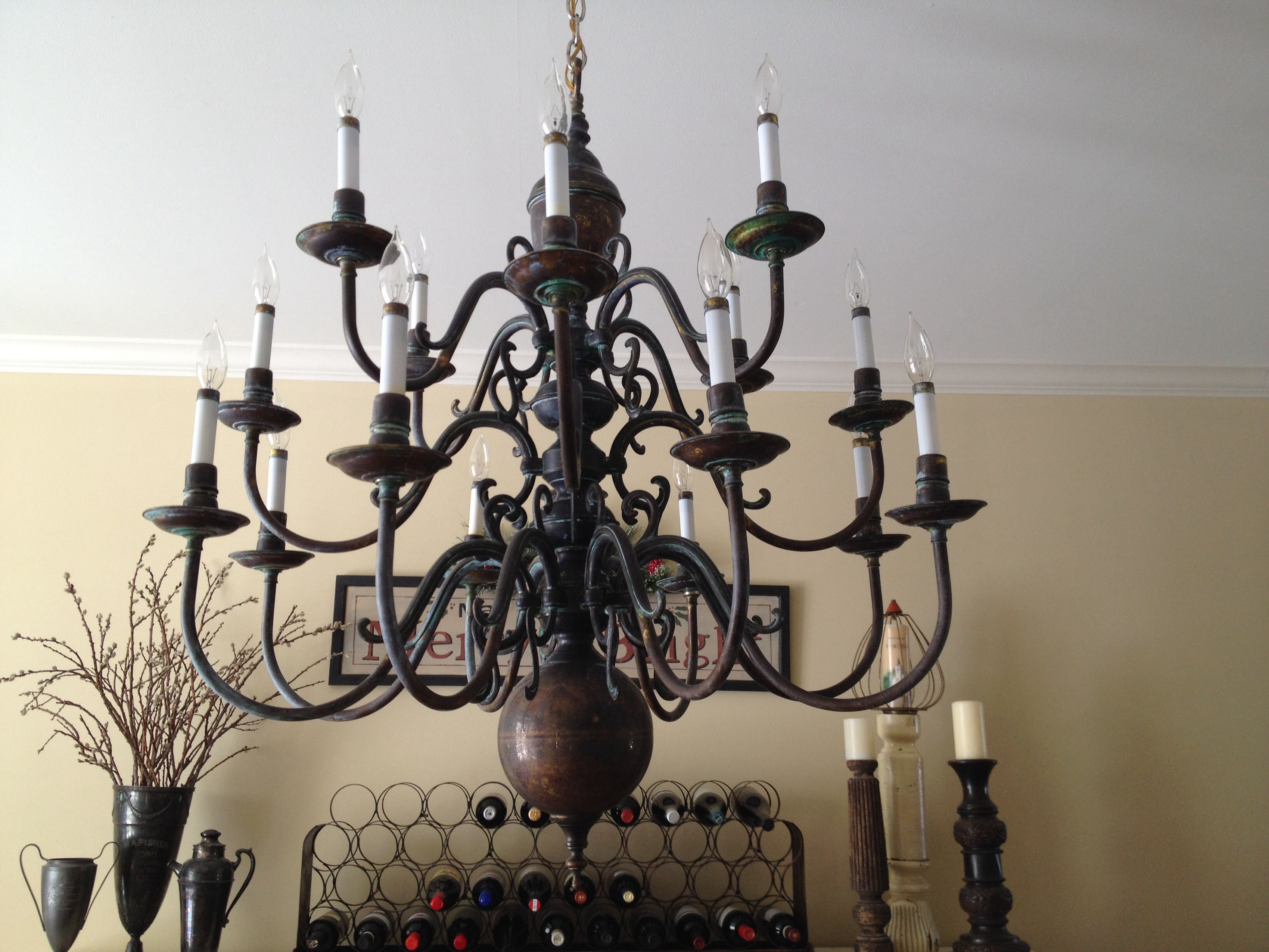 My revamped chandelier This was a bright brass chandelier so I