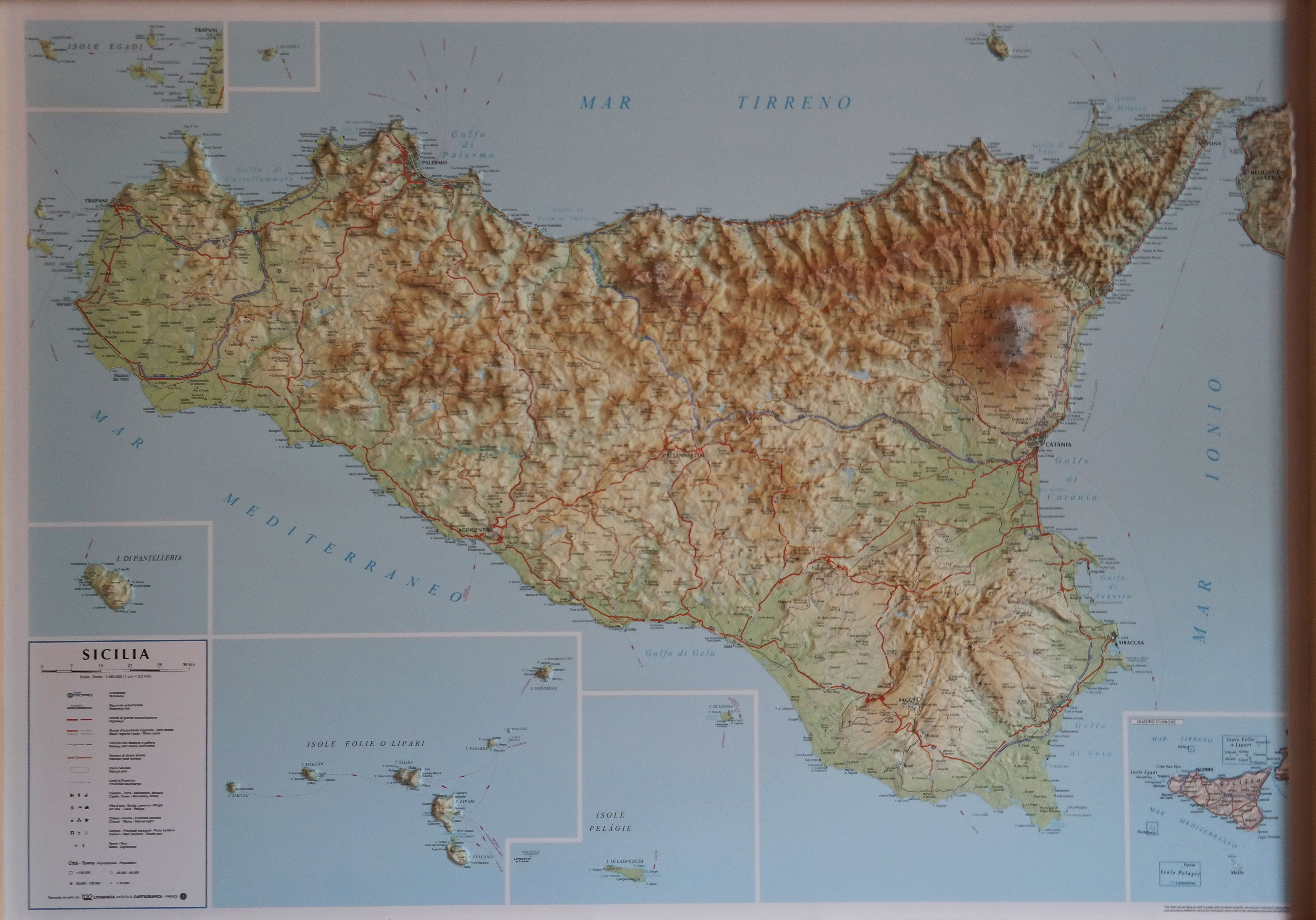 Sicily Raised Relief Map Raised