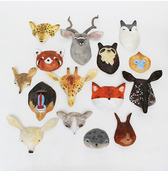 Let 39 s all get out our animal masks paper mache animals for Making paper mache animals