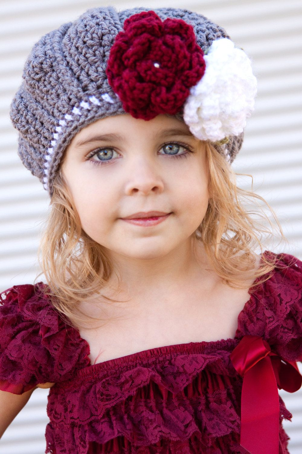 girls beautiful crochet grey and white beret fall hat with flowers
