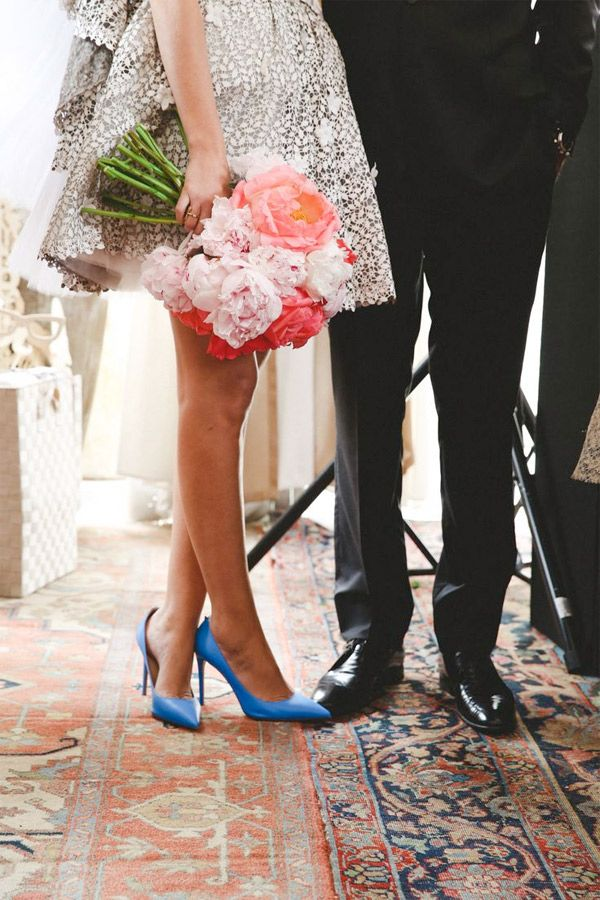 City Hall Wedding In Chic Short Wedding Dress Blue Shoes Brides