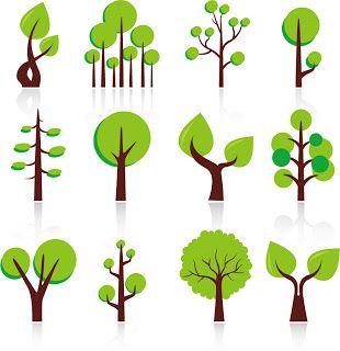 抽象的な新緑の樹のクリップ アート Abstract Green Trees Clip Art