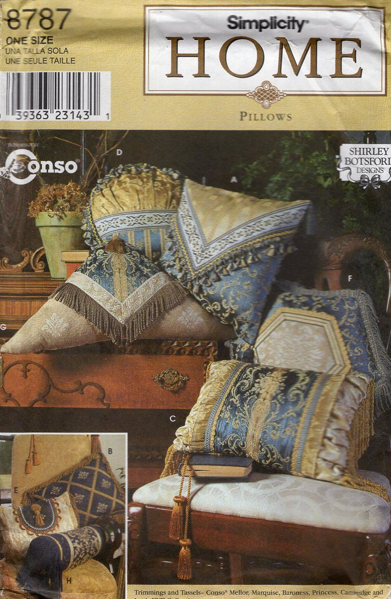 Simplicity 8787 Throw Pillow Pillows Beads Tassel Envelope Triangle Bolsters Sewing Pattern Free Us Ship Uncut 1996 & Simplicity 8787 Throw Pillow Pillows Beads Tassel Envelope ... pillowsntoast.com
