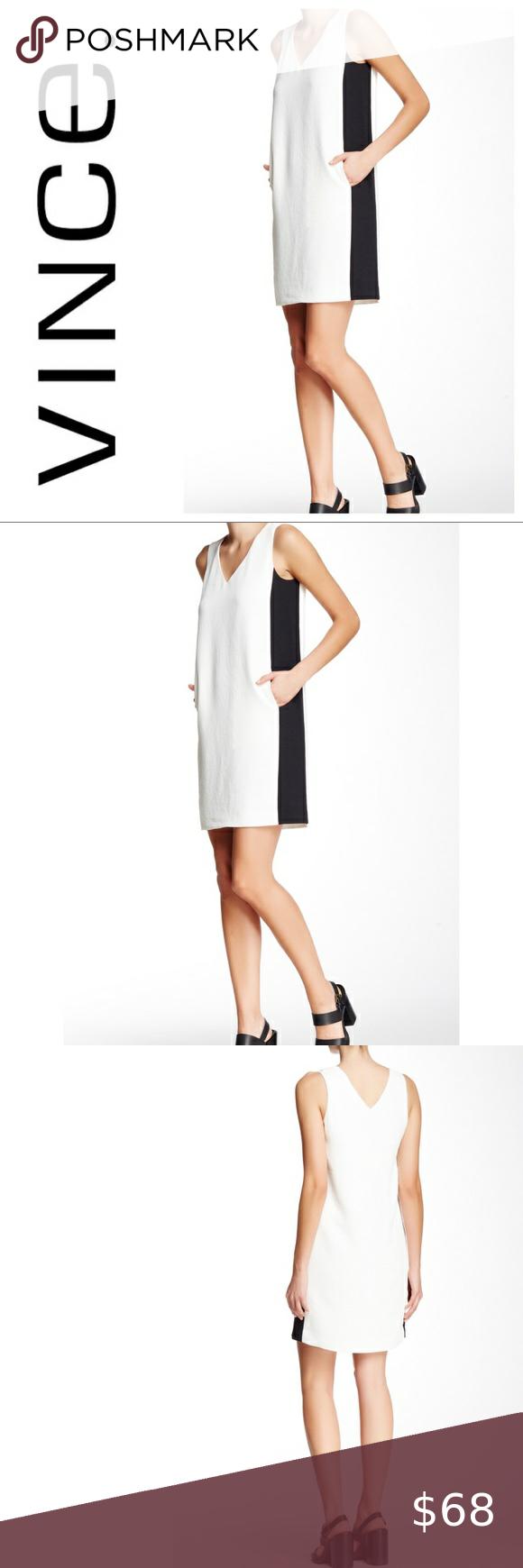 Vince Black And White Sleeveless V Neck Dress V Neck Dress Dresses Sleeveless [ 1740 x 580 Pixel ]