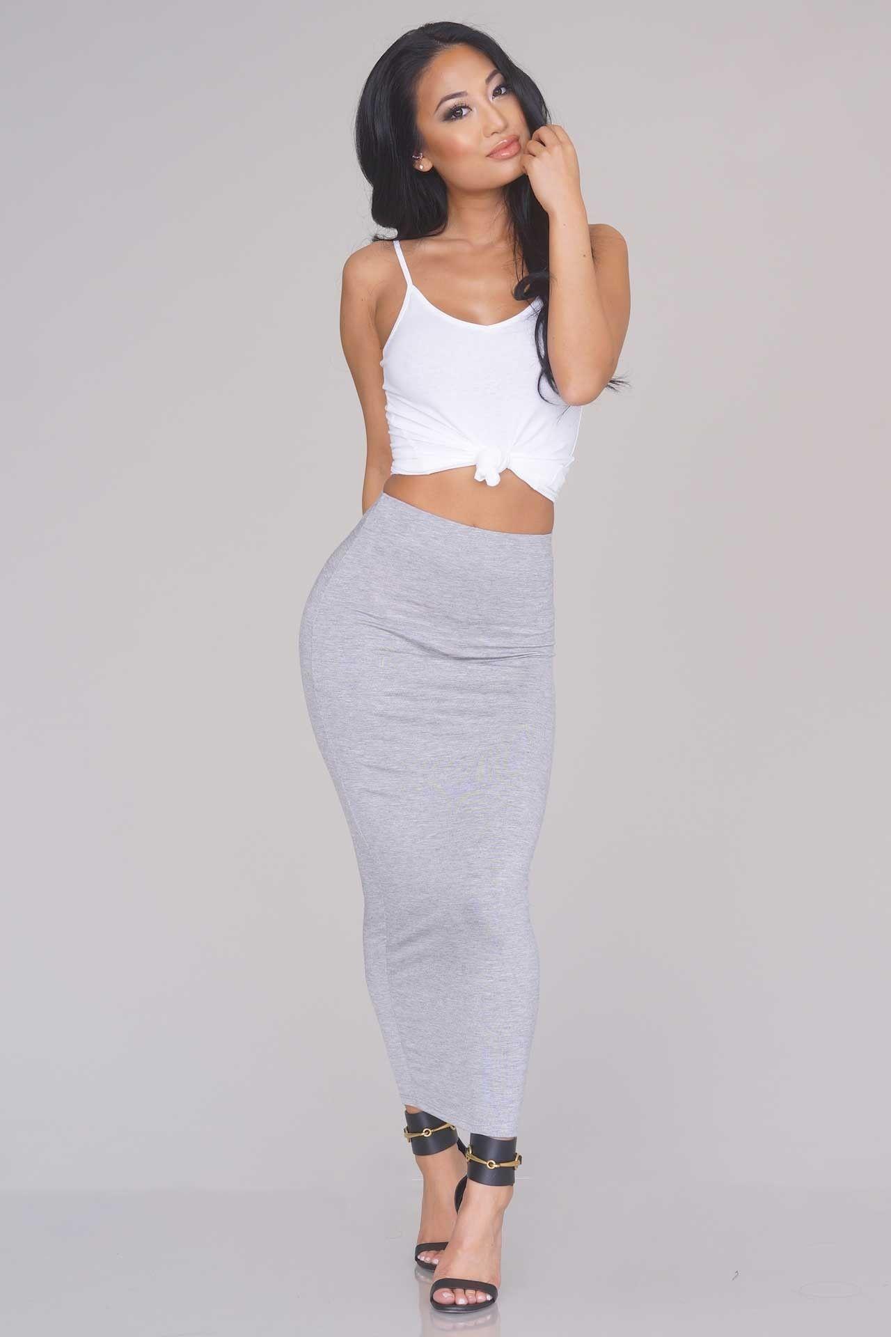 Minimalist Knit Maxi Skirt – Heather Grey - New Arrivals | NEW ...
