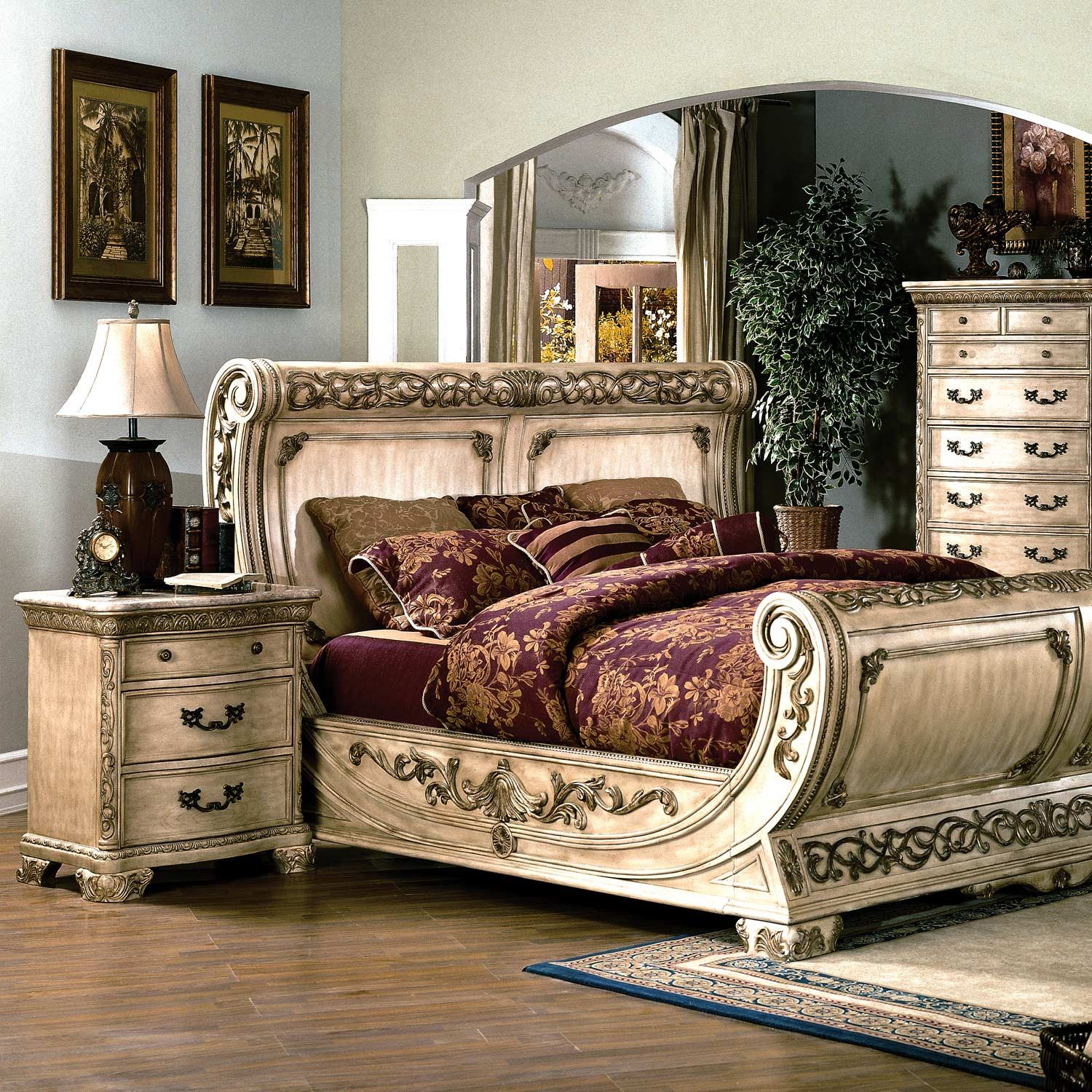 Cannes Bedroom Set Gondola Sleigh Bed Whitewash Bedroom Sets Bedroom Design Traditional Bedroom Decor