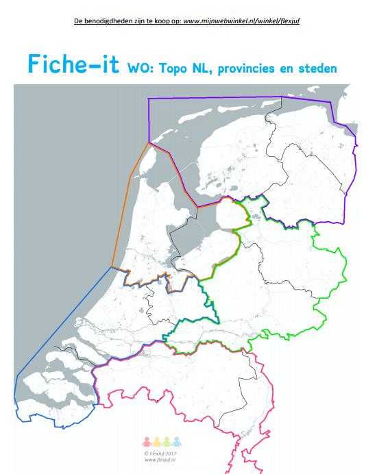 Provincies van NL oefenen inclusie hoofdsteden! Bij dit werkblad heb je Fiche-it fiches nodig:  https://www.webshop-flexjuf.nl/c-3989248/spelbenodigdheden/