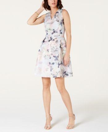 7f79b5ca4ab3 Tahari Asl Metallic Floral Jacquard Fit & Flare Dress - Purple 2 in ...