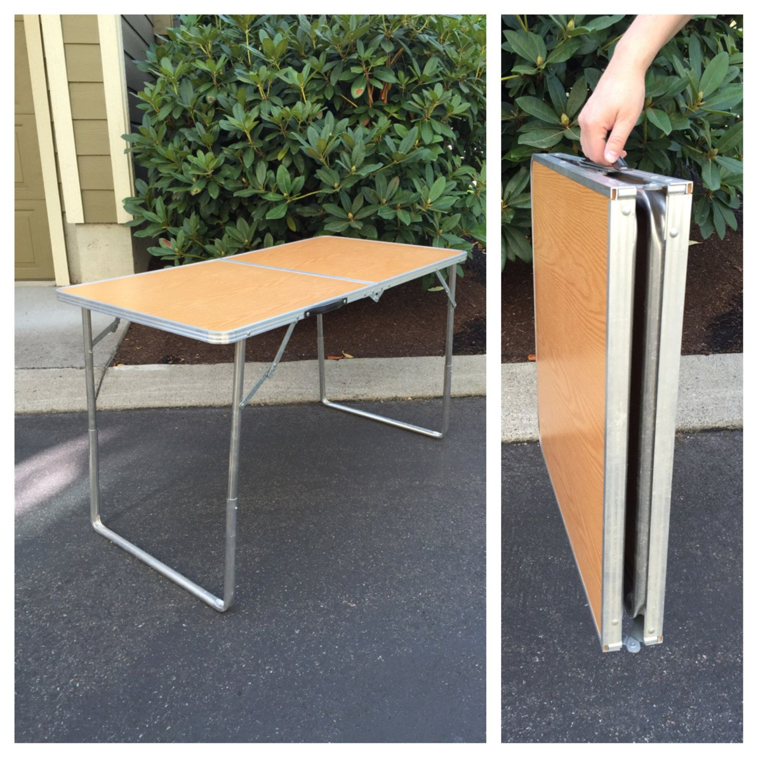 Vintage Metal Folding Table Portable Table Folding Travel Table