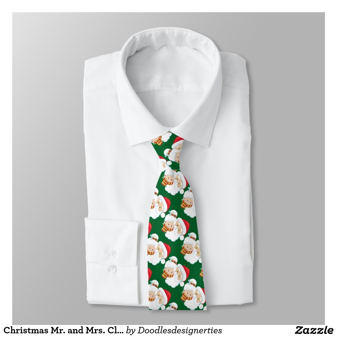 Christmas Mr. and Mrs. Claus tiled tie